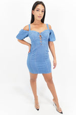 Sweetheart Keyhole Denim Dress