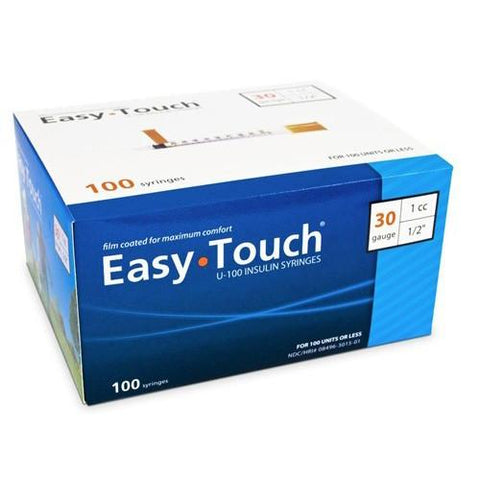 "EasyTouch Insulin Syringe 30 Gauge 1CC 1/2"" - BX 100 - Total Diabetes Supply"