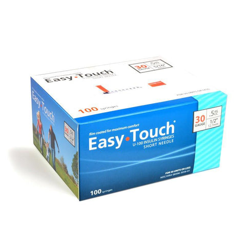EasyTouch Insulin Syringe - 30G .5CC 1/2in - BX 100 - Total Diabetes Supply