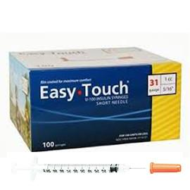 "EasyTouch Insulin Syringe - 31G 1CC 5/16"" - BX 100 - Total Diabetes Supply"