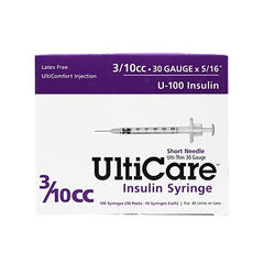 "UltiCare Ulti-Thin II U-100 Insulin Syringes - Short Needle - 30 G 3/10 cc 5/16"" - BX 100"