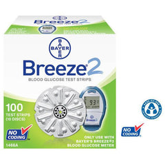 Bayer Breeze 2 Test Strips - 100 ct. - Total Diabetes Supply