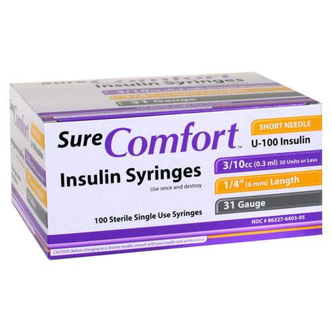 "SureComfort U-100 Insulin Syringes - 31G 3/10cc 6mm (1/4"") - 100 BX"