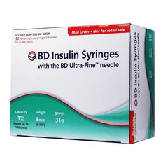 "BD Ultra-Fine II Short Needle Insulin Syringe - 31G 1cc 5/16"" - BX 90"