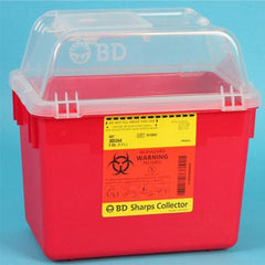 Bd Multi-use Nestable Sharps Collector, 8qt, Hinge Cap/petals, Red, Clear Top