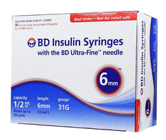 BD Ultra-Fine Insulin Syringes 31G 1/2cc 6mm 90ct