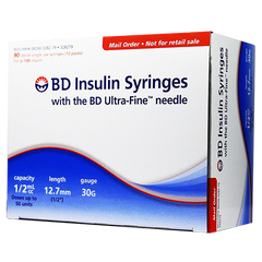 "BD Ultra Fine Insulin Syringes - 30G 1/2cc 1/2"" - BX 90"