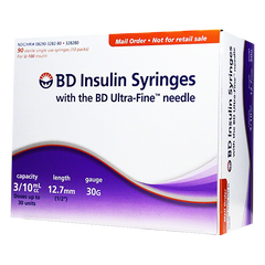 "BD Insulin Syringes Ultra Fine Needle - 30G 3/10cc 1/2"" - BX 90"
