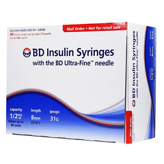 "BD Insulin Syringes Ultra-Fine II Short Needle - 31G 1/2cc 5/16"" - BX 90"
