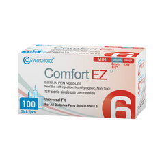 "Clever Choice Comfort EZ Insulin Pen Needles - 33G 6mm 1/4"" - BX 100"