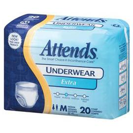 Attends Extra Absorbency Protective Underwear, Medium (34? to 44 inches?, 120-175 lbs) - One pkg of 20 each - Total Diabetes Supply