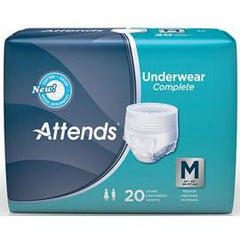Attends Super Plus Absorbency Protective Underwear with Leakage Barriers, Medium (34'¬? to 44'¬?, 120-175 lbs) - One pkg of 20 each - Total Diabetes Supply