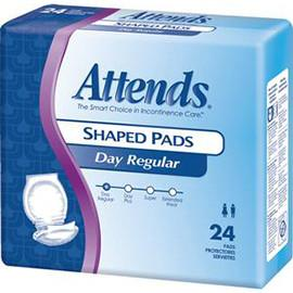Attends Shaped Pads, Day Plus - One pkg of 24 each - Total Diabetes Supply