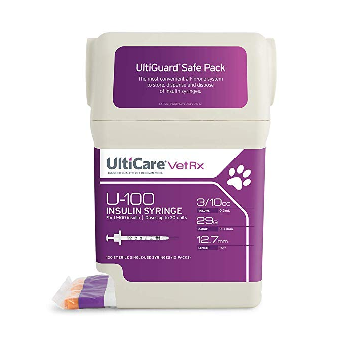 "UltiCare U-100 VetRx Veterinary Insulin Syringes - 29g 3/10cc 1/2"" - 100/bx"