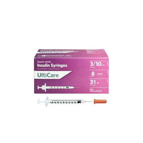 "UltiCare Ulti-Fine II U-100 Insulin Syringes - Short Needle - 31G 3/10 cc 5/16"" - BX 100 - Total Diabetes Supply"