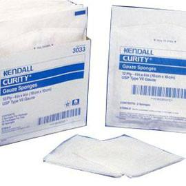 "Kendall Healthcare Curity Sterile Gauze Sponge, 12 Ply, U.S.P Type VII, Sterile, 4"" x 4"" - Tray of 10 - Total Diabetes Supply"