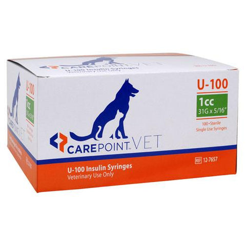 "CarePoint Vet U-100 Pet Insulin Syringes - 31G 1cc 5/16"" - 100/bx"