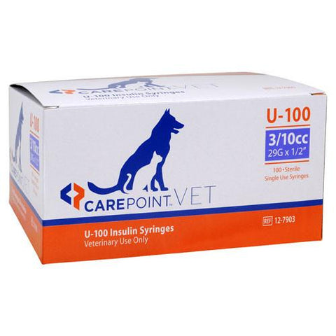"CarePoint Vet U-100 Pet Insulin Syringes - 29G 3/10cc 1/2"" - 100/bx"