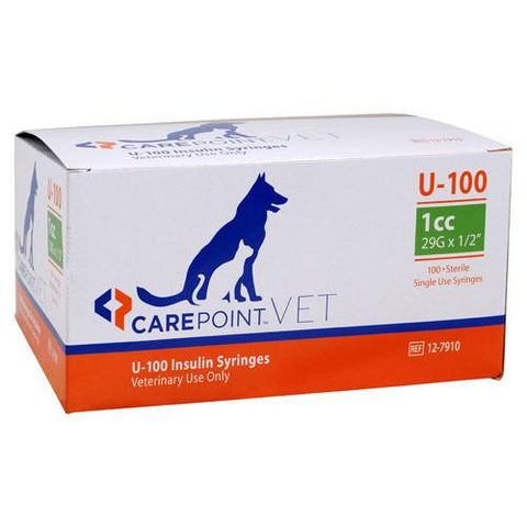 "CarePoint Vet U-100 Pet Insulin Syringes - 29G 1cc 1/2"" - 100/bx"