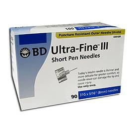 "BD Ultra-Fine III Short Pen Needles - 31G 5/16"" - BX 90 - Total Diabetes Supply"