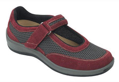 Chattanooga Women's Breathable Mesh Mary Jane - Two-way-strap - Diabetic Shoes - Maroon and Grey