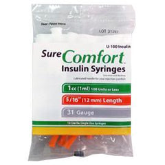 "SureComfort U-100 Insulin Syringes Short Needle - 31G 1cc 5/16"" - Polybag of 10 Ct - Total Diabetes Supply"