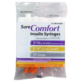 "SureComfort U-100 Insulin Syringes - 30G 3/10cc 5/16"" - Polybag of 10 Ct - Total Diabetes Supply"