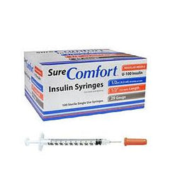 "SureComfort U-100 Insulin Syringes - 29G 1/2cc 1/2"" - BX 100 - Total Diabetes Supply"
