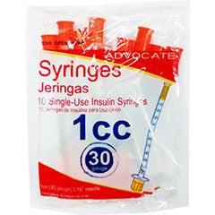 "Advocate Insulin Syringes - 30G 1cc 5/16"" - Polybag of 10 Ct - Total Diabetes Supply"