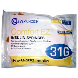"Clever Choice Comfort EZ Insulin Syringes - 31G U-100 3/10 cc 5/16"" - Polybag of 10 Ct - Total Diabetes Supply"