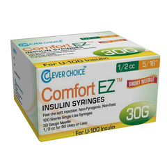 "Clever Choice Comfort EZ Insulin Syringes - 30G U-100 1/2 cc 5/16"" - BX 100"