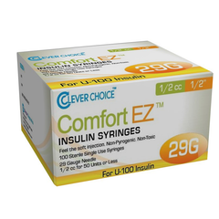 "Clever Choice Comfort EZ Insulin Syringes - 29G U-100 1/2 cc 1/2"" - BX 100"