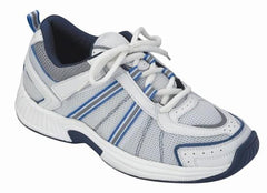 Tahoe women's Athletic - Tie-less Lace - Washable - Diabetic Shoes - White and Blue