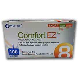 "Clever Choice Comfort EZ Pen Needles Short - 31G 8mm 5/16"" - BX 100 - Total Diabetes Supply"
