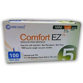 "Clever Choice Comfort EZ Pen Needles Mini - 31G 5mm 3/16"" - BX 100 - Total Diabetes Supply"