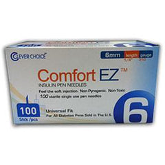 "Comfort EZ Clever Choice Pen Needles - 31G 6mm 1/4"" - BX 100 - Total Diabetes Supply"