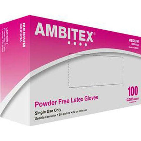 Ambitex Non-sterile Powder-free General Purpose Latex Glove Medium - 100/box