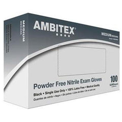 Ambitex Nitrile Exam Gloves, Black, Medium - 100/box