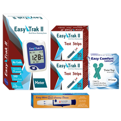 Easy Trak II Blood Glucose Meter, 100 Test Strips, 100 Lancets 30G, and Lancing Device