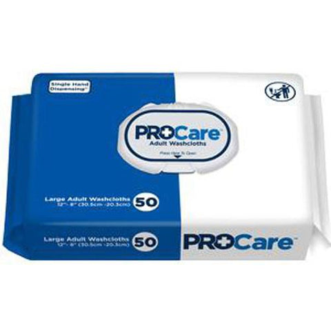 ProCare Adult Washcloth, 12 x 8, Soft Pack - Pack of 50