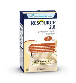 Nestle Healthcare Nutrition Resource 2.0  Complete Liquid Nutrition Very Vanilla  32oz Brik Pak