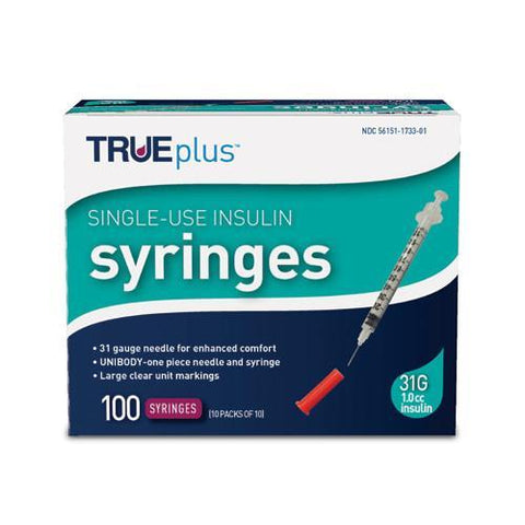 "TRUEplus Insulin Syringes - 31G 1cc 5/16"" - BX 100 - Total Diabetes Supply"