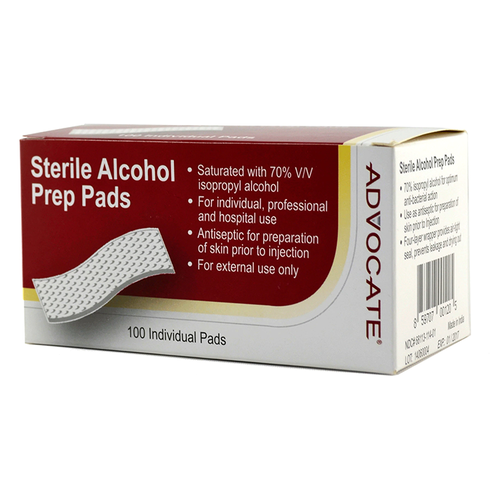 Advocate Alcohol Prep Swabs, Sterile -  Box of 100 (Individual Packets)