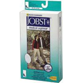 BSN Jobst ActiveWear Knee High Moderate Compression Socks Medium, Cool White, Closed Toe, Unisex, Latex-free - 1 Pair - Total Diabetes Supply