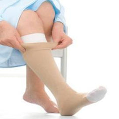 BSN Jobst UlcerCare Knee High Compression Stockings with Liner 1 Extra-Large, Beige, Open Toe, Unisex, Re-usable- Each