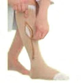 BSN Jobst Ulcercare Zippered Compression Stockings and Liner Medium Left Closure, Beige, Open Toe, Unisex- Each