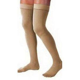 BSN Jobst Relief Thigh High Extra Firm Compression Stockings without Silicone Dot Band Small, Beige, Closed Toe, Unisex, Latex-free - 1 Pair