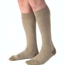 BSN Jobst Men's Knee High Ribbed Compression Socks Medium, Khaki, Closed Toe, Latex-free - 1 Pair - Total Diabetes Supply