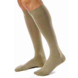 BSN Jobst Men's Knee High Ribbed Compression Socks Large, Khaki, Closed Toe, Latex-free - 1 Pair - Total Diabetes Supply