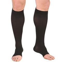BSN Jobst Opaque Knee High Moderate Compression Stockings Medium, Open Toe, Classic Black, Latex-free - 1 Pair - Total Diabetes Supply